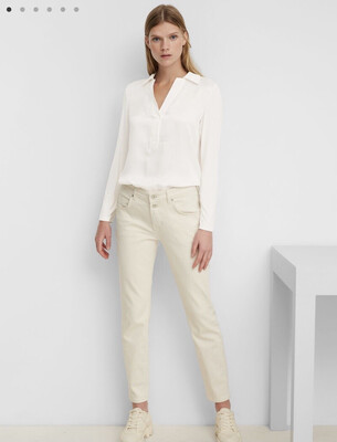 SUSTAINABLE Paper White Blouse in an Elegant Mix of Materials