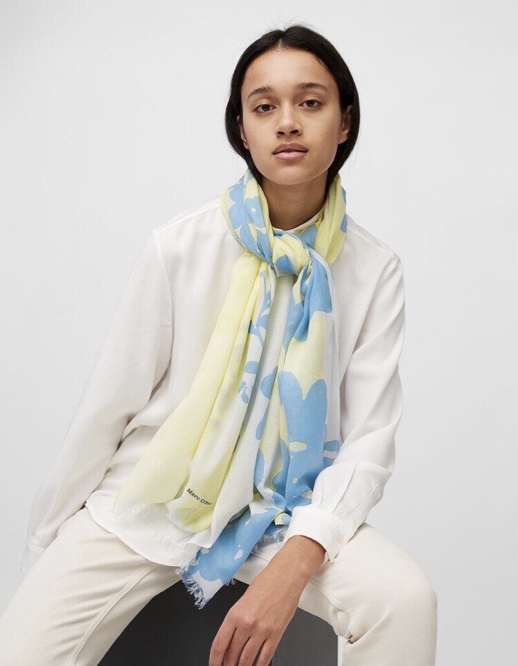 SUSTAINABLE Oso Multi Green, Blue and Cream Scarf