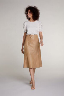 Camel Midi Leather Skirt in Wrap Look