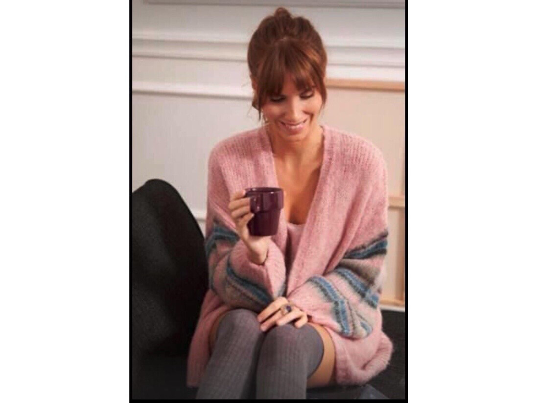 Mia Rose Stripe Sleeve Knit One Size