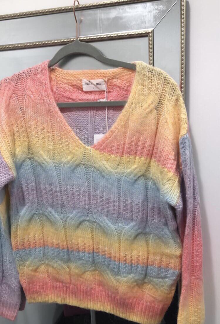 Rainbow Ribbed VNeck Knit