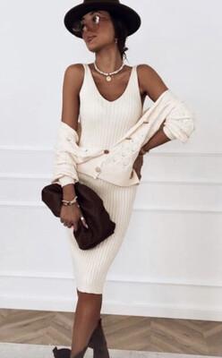 Cream Dress and Cardi Knit Set