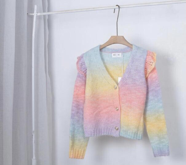 Rainbow Knit Cardi with Frill Sleeve Detail