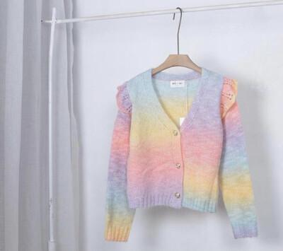 Rainbow Knit Cardi with Frill Sleeve Detail