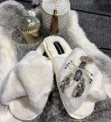 Cream Fluffy Slippers Lobster By Laines London