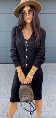 Black Dress and Cardi Knit Set