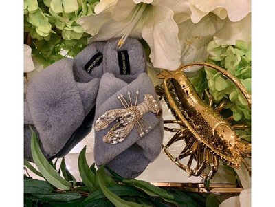 Grey Fluffy Slipper Silver Lobster By Laines London
