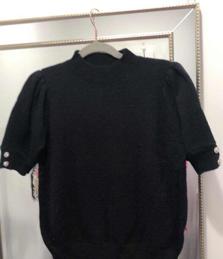 Black Fine Knit Top With Decorative Button Detail One Size 8-16