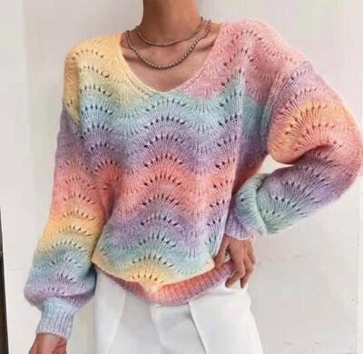 Rainbow Shell Ribbed VNeck Knit