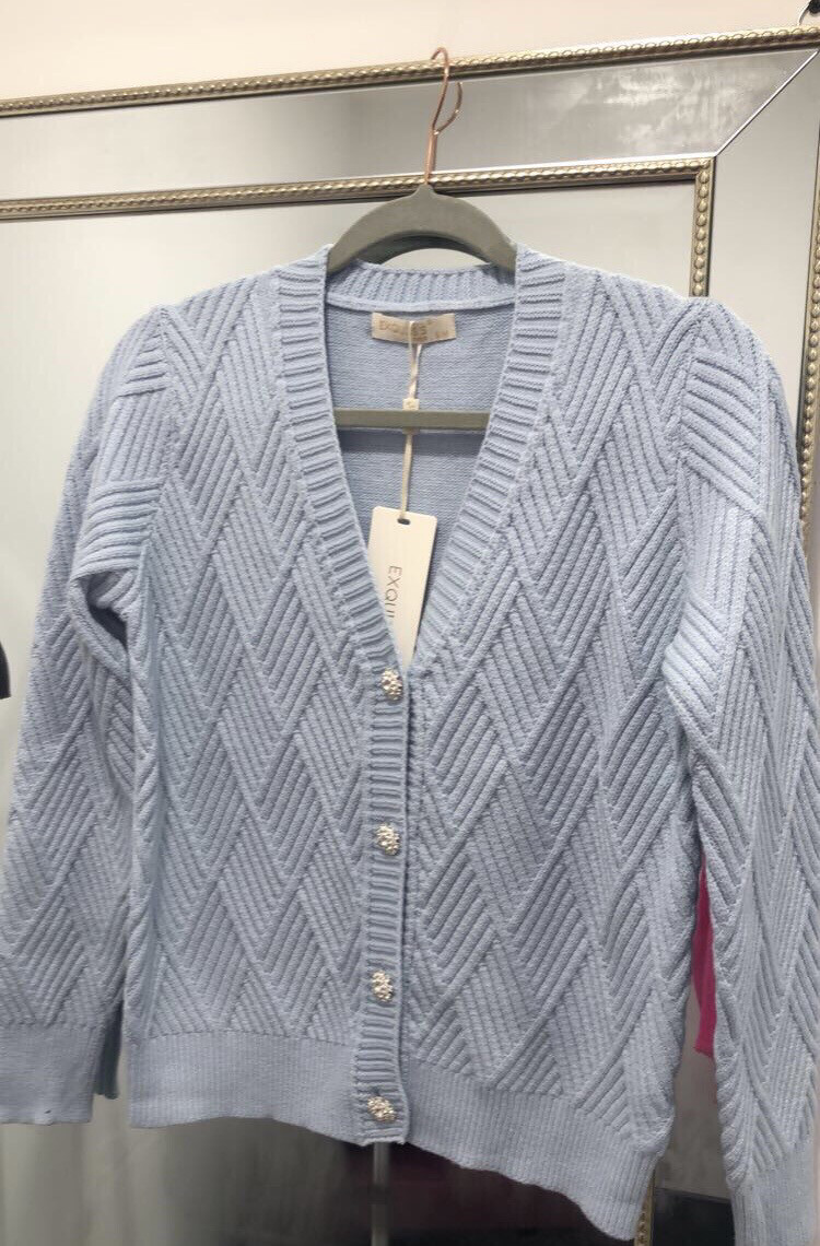 Baby Blue Ribbed Knit Cardi