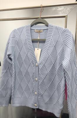 Baby Blue Ribbed Knit Cardi