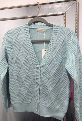 Mint Ribbed Knit Cardi