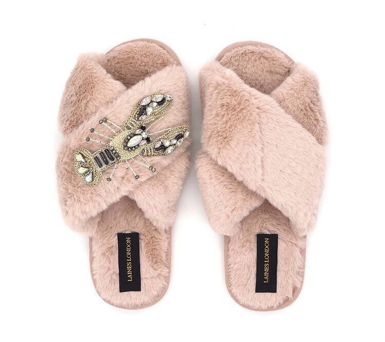 Pink Fluffy Slippers Gold Lobster By Laines London