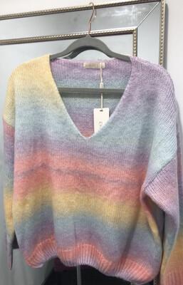 Rainbow Knit V-Neck Jumper One Size