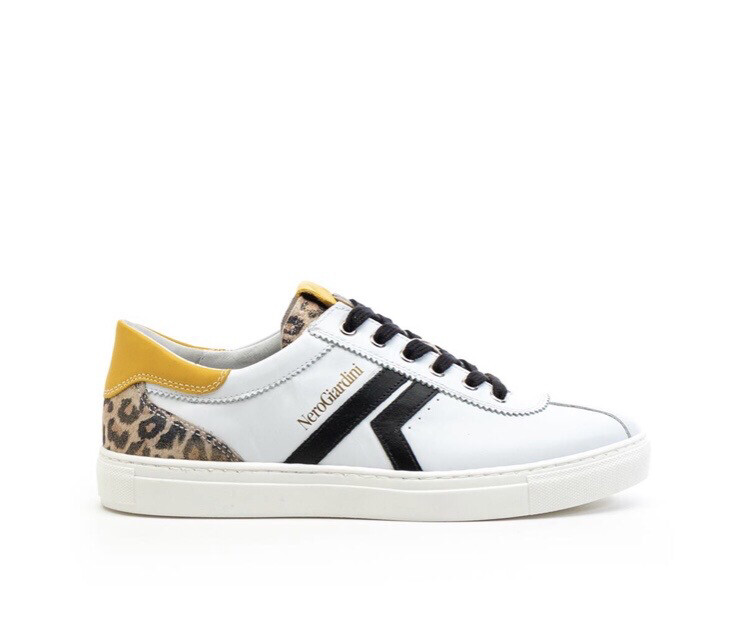 White Retro Trainer with Unique Leopard Detail with Yellow Trim