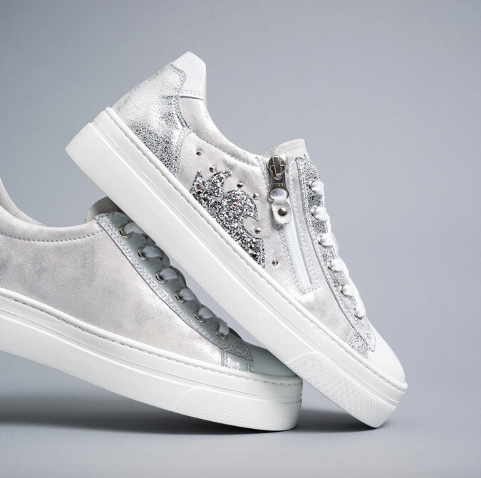 White and Silver Trainer with Sparkle and Stud Detail and Side zip