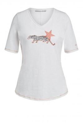 Cloud Dancer T-Shirt With Leopard