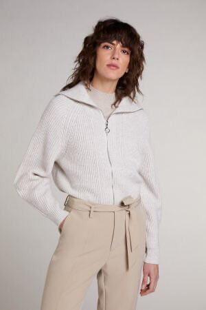 Oatmeal Knitted Cardigan with Stand-up Collar