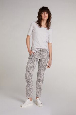 Camel Grey Stretch Trousers With Animal Print