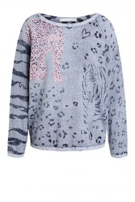 Grey Organic Cotton Knit with Pink and Black Leopard Detail