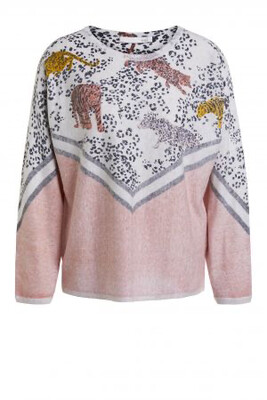 Rose White Organic Cotton Jumper with Leopard and Tiger Print