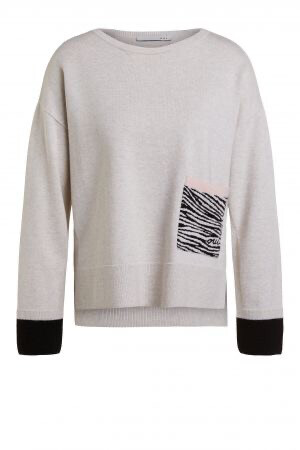 Oatmeal Jumper With Patch Pocket in Zebra Print With Oui Logo