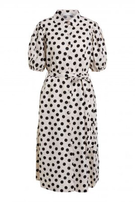 Natural Linen White & Black Polka Dot Dress