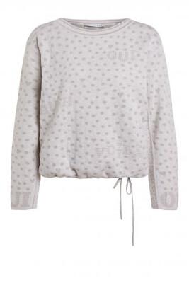 Off White & Silver Polka Dot Cotton Knit