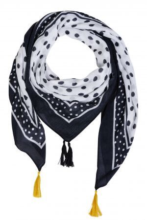 Black & White Polka Dot Scarf with Yellow Tassel