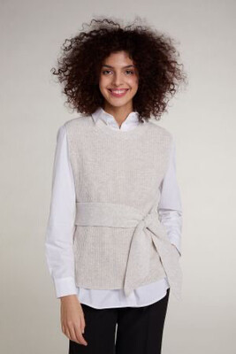 Oatmeal Knitted Slipover with Tie Waist
