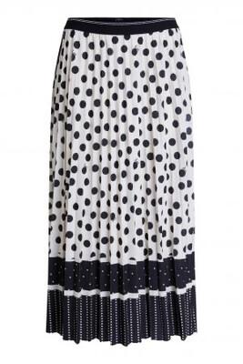 Pleated Love Skirt Off White & Black Polka Dot