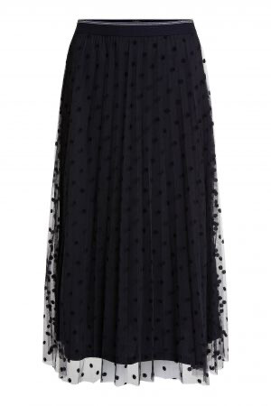 Black Pleated Skirt with Little Dots
