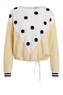 Light Yellow & White Cotton Knit with Black Polka Dot