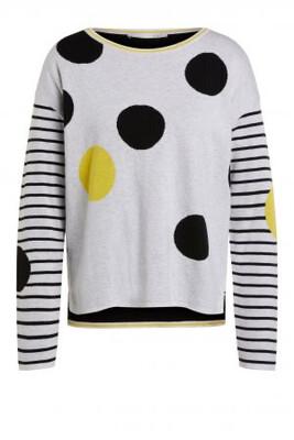 Light Grey & Yellow Cotton Knit with Black Polka Dot