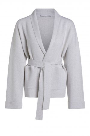 Oui Luxury Oatmeal Fine Knit Cardigan with Tie Waist