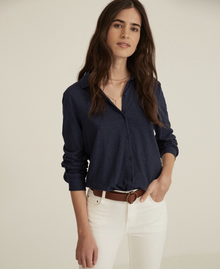 Navy Organic Cotton Knit Shirt