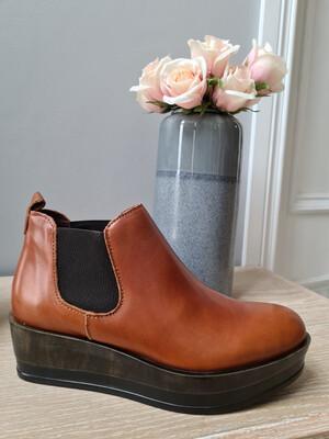 Tan Platform Elastic Ankle Boot