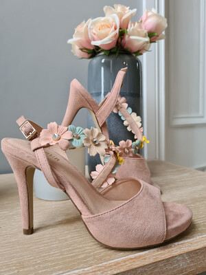 Nude Heel with Coloured Flower Detail