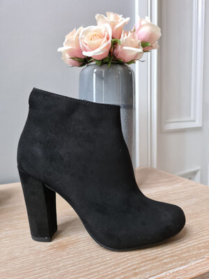 Black Suede Block Heel Boot