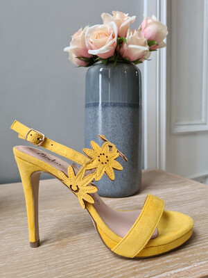 Yellow Heel with Flower Detail