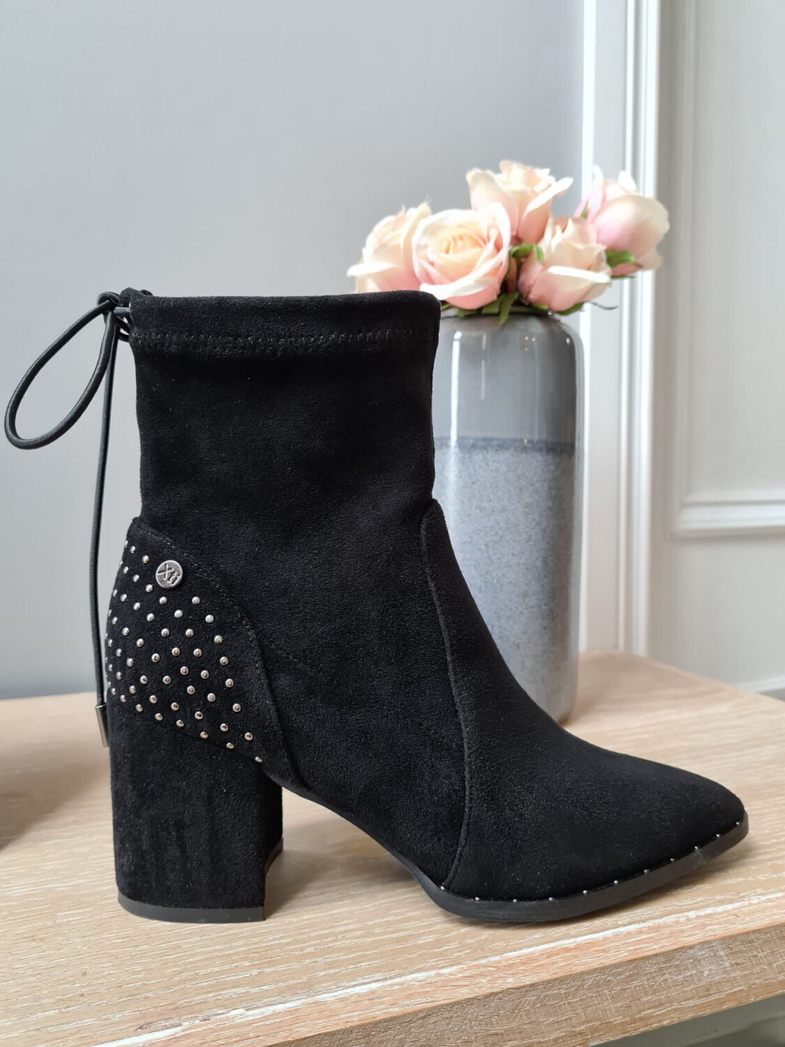Black Studded Ankle Boot with Tie Detail