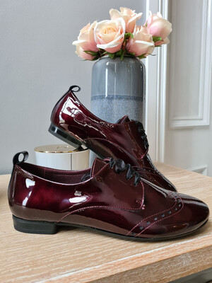 Burgundy Patent Ribbon Laced Pump