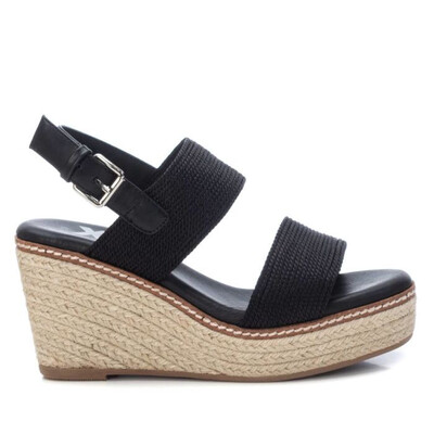 Black Strappy Wedge Sandal