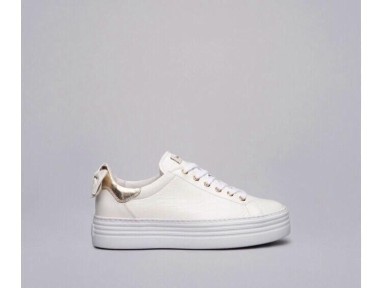 White Platform Croc Leather Bow Trainer