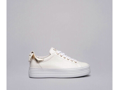White Platform Croc Leather Bow Trainer