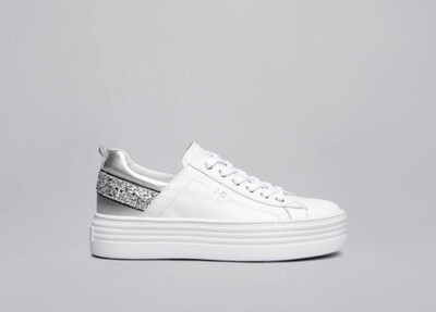White Leather Platform Trainer With Silver Sparkle Detail