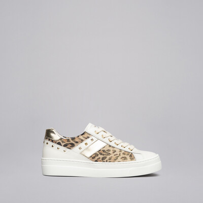 Milk Trainer With Animal Print Leather And Mini Studs