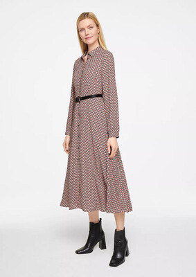Midi Red and Black Print Belted Shirt Dress