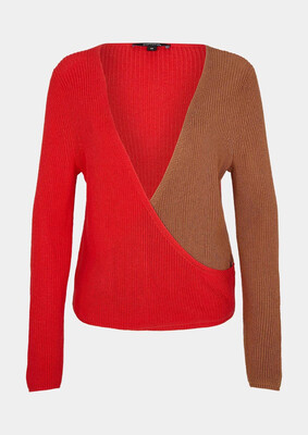 Red and Tan Fine Knit Jumper