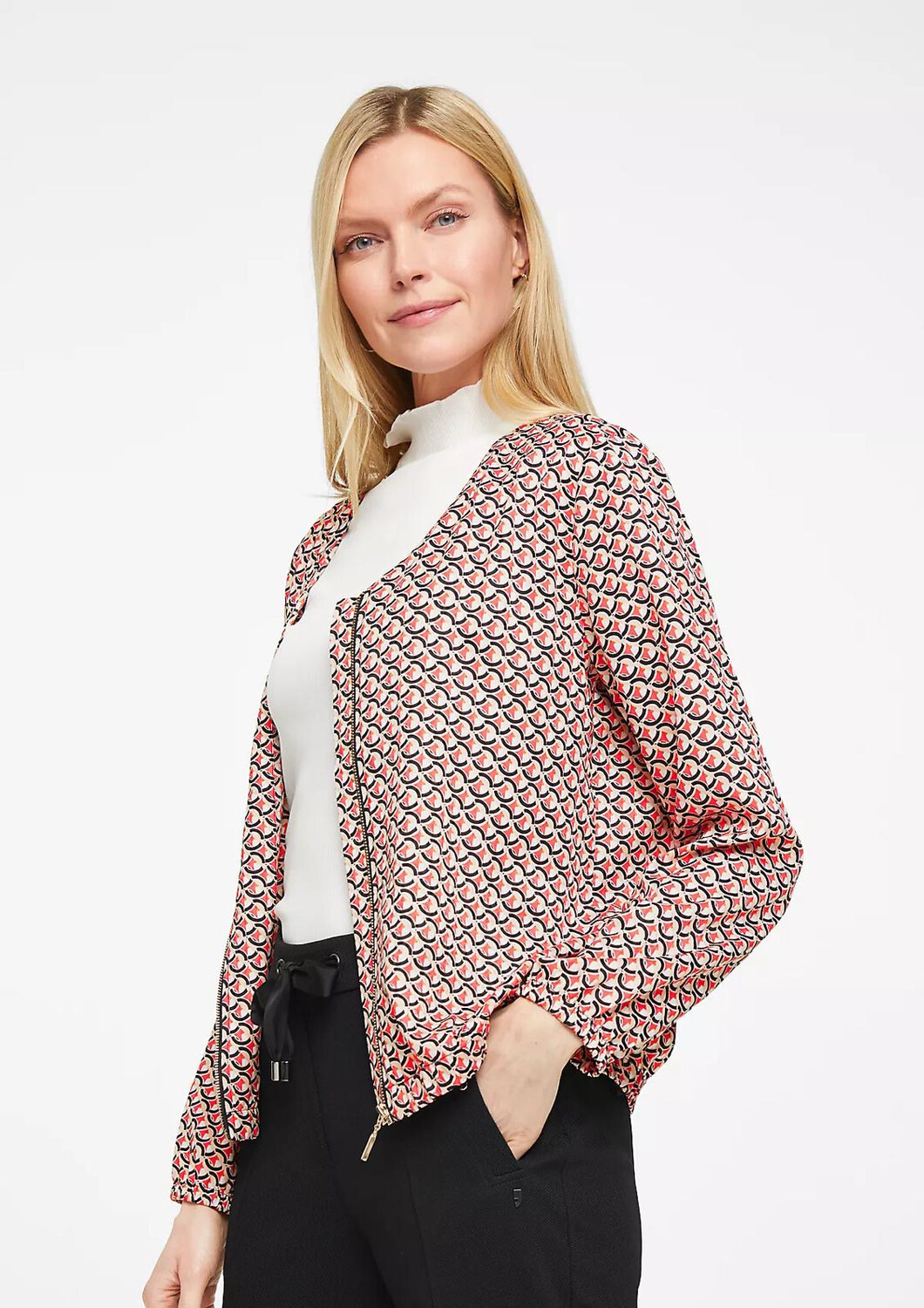 Bomber Jacket With Red Multi Print
